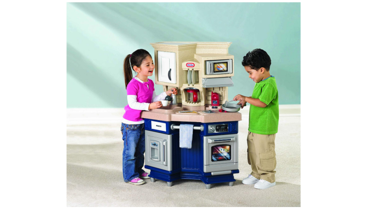 The Little Tikes Super Chef Kitchen features electronic cooking sounds.