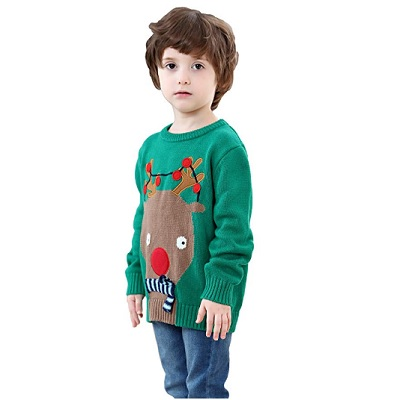 shineflow kids rudolph sweater christmas sweater green