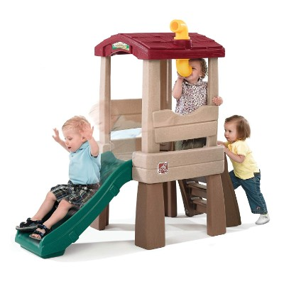 naturally playful lookout treehouse indoor toddler slide side view