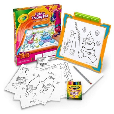 light-up tracing pad dreamworks trolls toy pieces