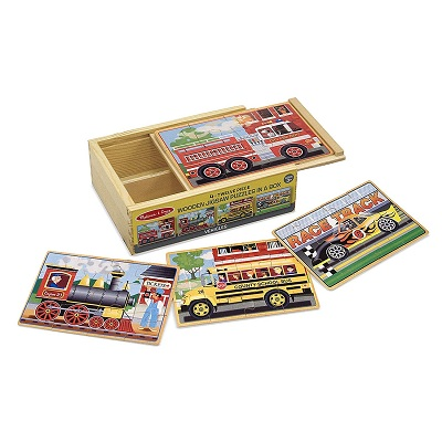 melissa & doug vehicles wooden puzzle stacked