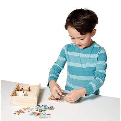 melissa & doug vehicles wooden puzzle kid playing