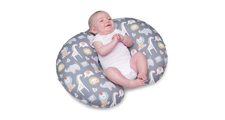 The Boppy Nursing Pillow can be used as a baby lounger.