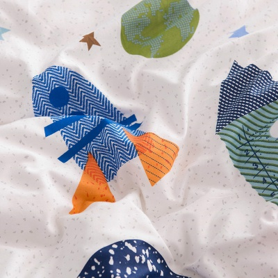 buLuTu space rocket kids bedding pattern