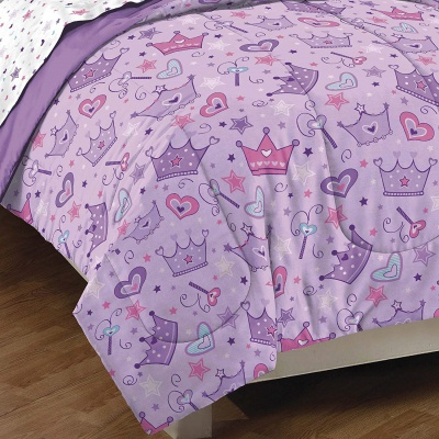 dream factory purple princess hearts kids bedding set