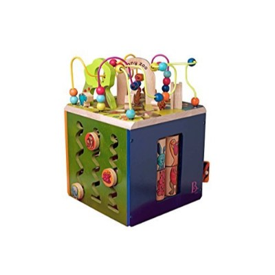 b zany zoo wooden activity cube side view