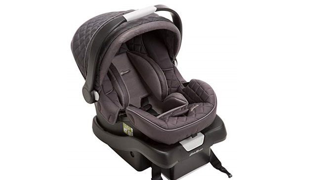 The Eddie Bauer SureFit Infant Car Seat, Graphite has side impact protection.