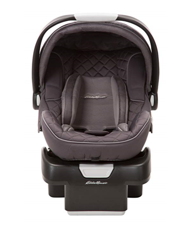 The Eddie Bauer SureFit Infant Car Seat, Graphite is a rear-facing car seat.
