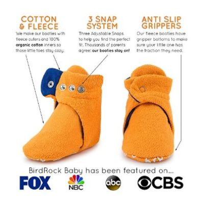 BirdRock Baby Boys Fleece Booties Cotton Lining and Anti-Slip Grippers