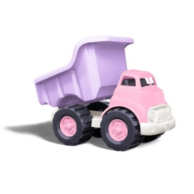 green toys dump truck toy car pink and purple