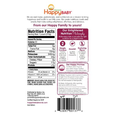 happy baby organic baby food ingredients
