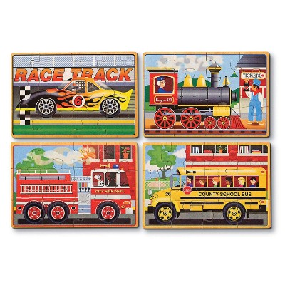 melissa doug vehicles 4 in a box jigsaw puzzle for kids cars