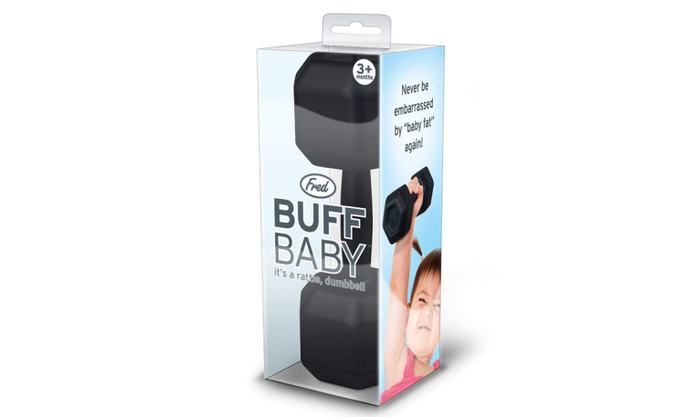 The Fred BUFF BABY Dumbbell Baby Rattle is safe for babies.