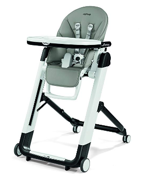 The Peg Perego Siesta high-chair in grey.