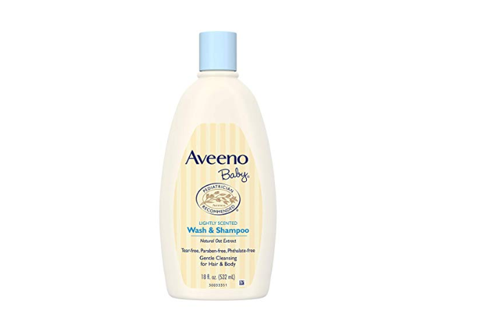 The Aveeno Baby Wash and Shampoo is made of natural oat extract.