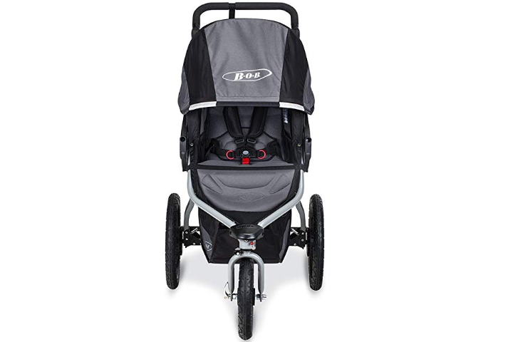 The BOB Revolution Flex 2.0 Jogging Stroller features a locking swivel-front wheel.