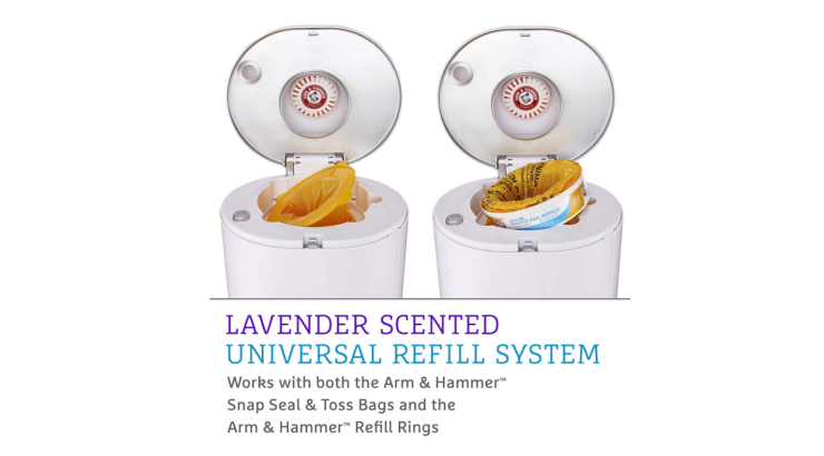 The Munchkin Step Diaper Pail Powered by Arm & Hammer has a lavander scented universal refill system.