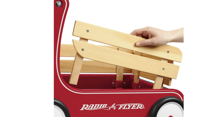 The Radio Flyer Classic Walker Wagon is made of natural solid wood.