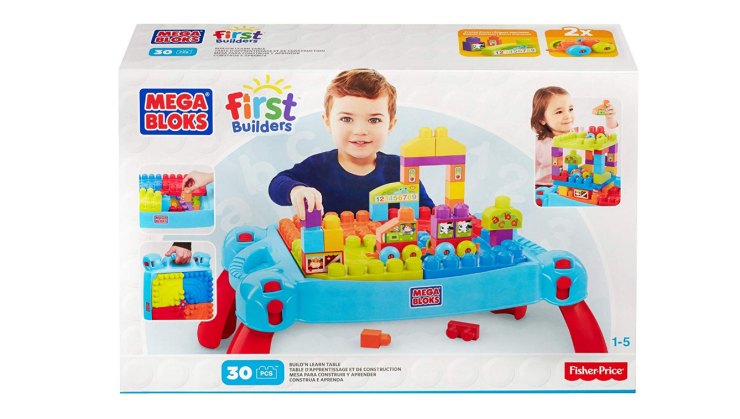 The Mega Bloks Build and Learn Table includes over 20 blocks.