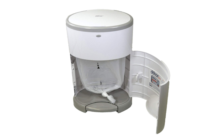 The Dekor Classic Hands-Free Diaper Pail converts to a trash can.