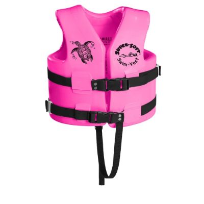 TRC recreation super soft USCG swim vests and life jackets for kids and toddlers pink