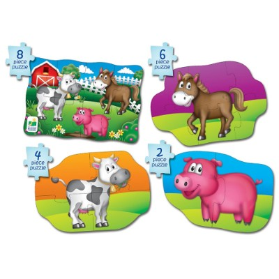 learning journey 4 in a box farm jigsaw puzzle for kids animals