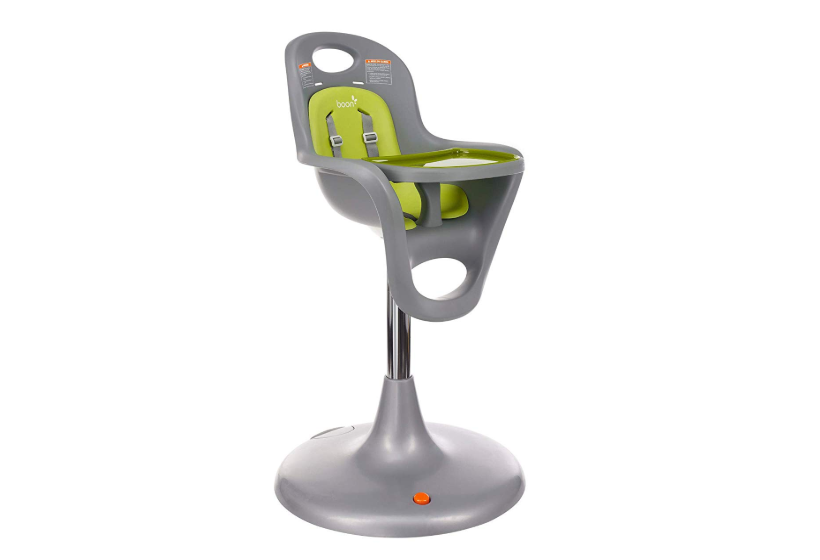 The Boon Flair High Chair in grey and green.