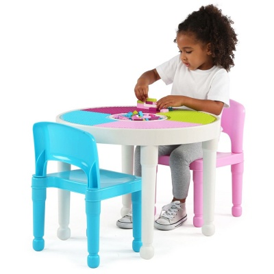 tot tutors 2-in-1 plastic lego storage container table and chairs