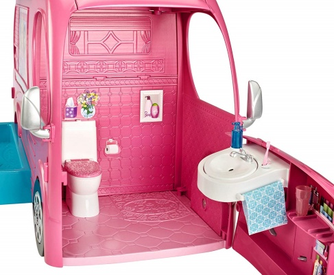 barbie pop-up camper vehicle toys that start with b inside