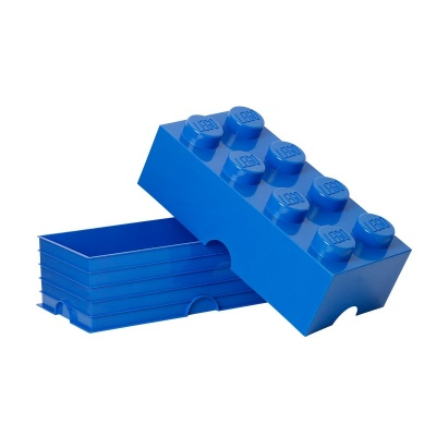 lego storage container brick 8 bright blue open box