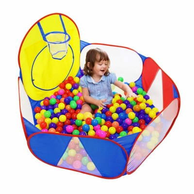 ball pit with basketball hoop toys that start with b kid playing