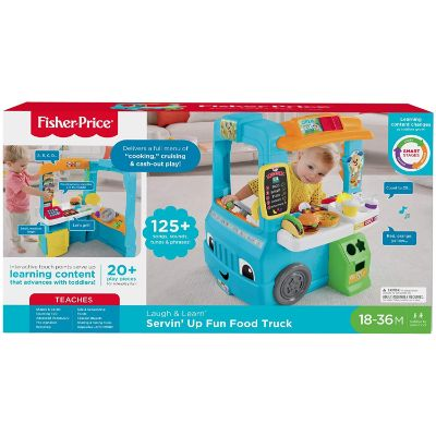fisher-price servin' up food truck play kitchen for kids and toddlers package