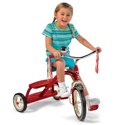 "radio flyer 10"" red classic tricycle big wheels for kids kid riding"