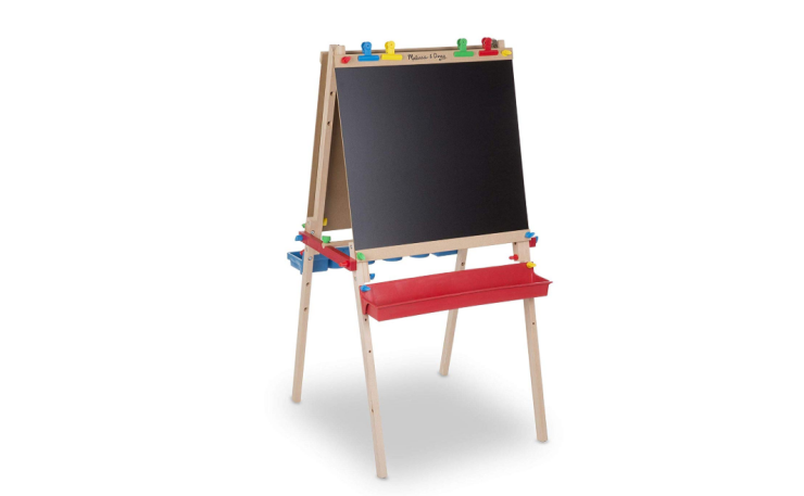 The Melissa and Doug Wooden Standing Art Easel is a multiple purpose tool.