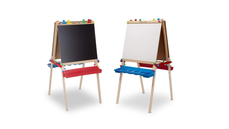 The Melissa and Doug Wooden Standing Art Easel is easy to assemble.