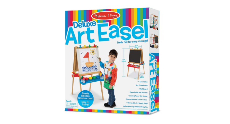 The Melissa and Doug Wooden Standing Art Easel is a perfect gift for kids ages 3 to 6.