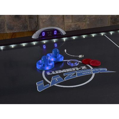 triumph lumen-x lazer 6' interactive air hockey table close up
