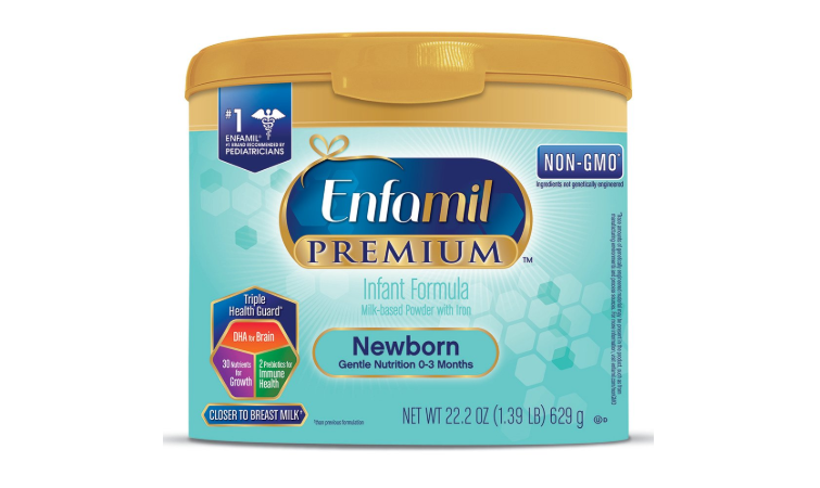 The Enfamil Newborn Forrmula packaging Enfamil Newborn Forrmula