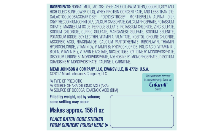 The Enfamil Newborn Forrmula ingredients list