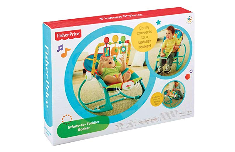 The Fisher-Price Infant to Toddler rocker packaging.