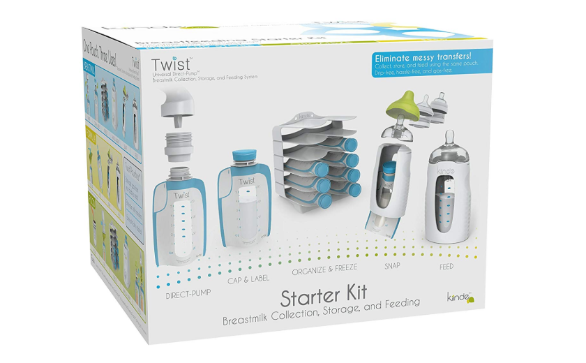 The Kiinde Twist Breast Milk Storage Kit features direct pump adapters.