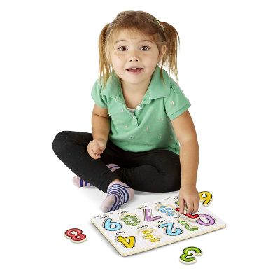melissa & doug alphabet & numbers wooden puzzle child playing