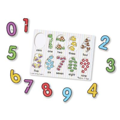melissa & doug alphabet & numbers wooden puzzle numbers