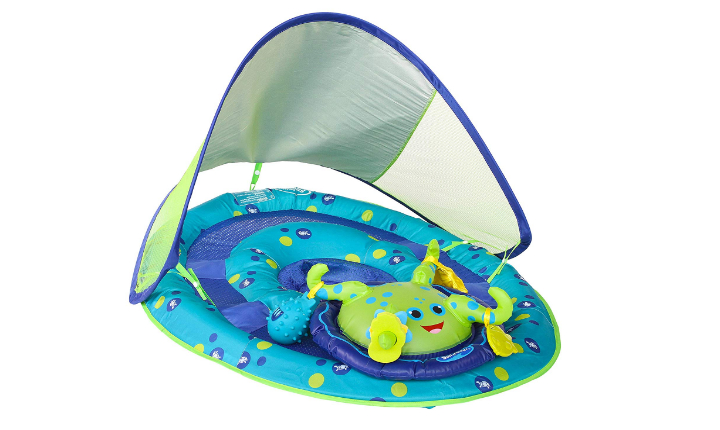 The SwimWays Baby Spring Float Activity Center is interactive.
