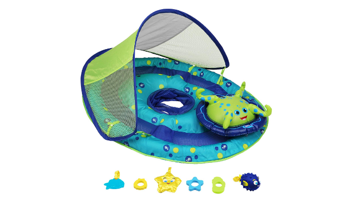 The SwimWays Baby Spring Float Activity Center offers UPF 50+ sun protection.