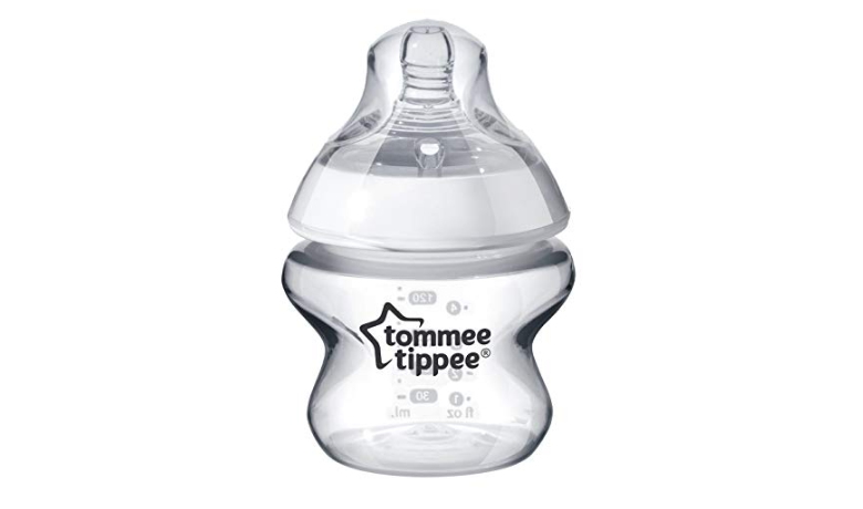 The Tommee Tippee Closer to Nature Baby Bottle features a breast-like nipples.
