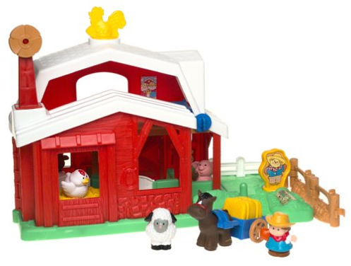 The Fisher-Price Little People Fun Sounds Farm features an on-off switch.