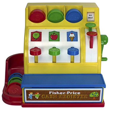 The Fisher-Price Cash Register has a colorful and inviting design.