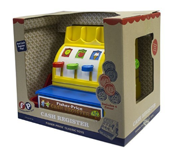 The Fisher-Price Cash Register packaging