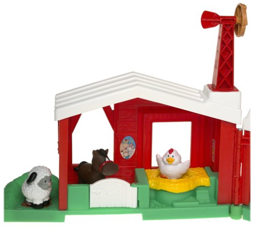 The fence of the Fisher-Price Little People Fun Sounds Farm connects with other play sets.